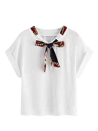 Milumia Women Scarf Print Tie Neck Short Sleeve Casual Blouse Top White S