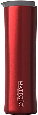 Insulated Travel Mug - Leak Proof Coffee Tumbler - Stainless Steel Vacuum Thermos - 14 Oz - Dark Scarlet by MateoJo …