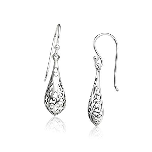 Big Apple Hoops - Genuine Oxidized 925 Sterling Silver ''Be Recognized'' Filigree Teardrop Dangle Hook Earrings | Lightweight, Delicate and Perfect Design