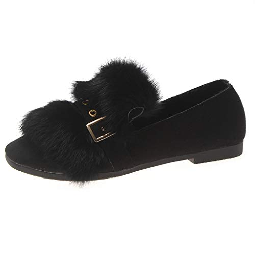 ANJUNIE Winter Warm Loafers for Women Comfortable Metal Decoration Flat with Pointed Toe Shoes Oxford