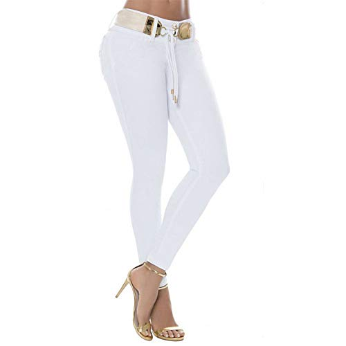 Clearance Sale! Wintialy Women Middle Waisted Skinny Jeans Stretch Slim Pants Calf Length Pencil Pants