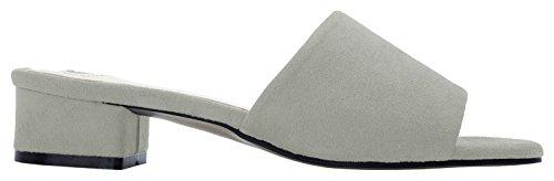 AnnaKastle Womens Colored Mule Slipper Heel Sandal Faux Suede - Warm Gray YycMTN
