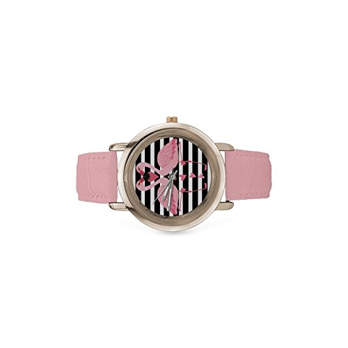Friends Gifts Lovers Gifts Black White Stripes Two Love Flamingos Women's Gold Leather Strap Watch by Flamingo Watch (Image #3)
