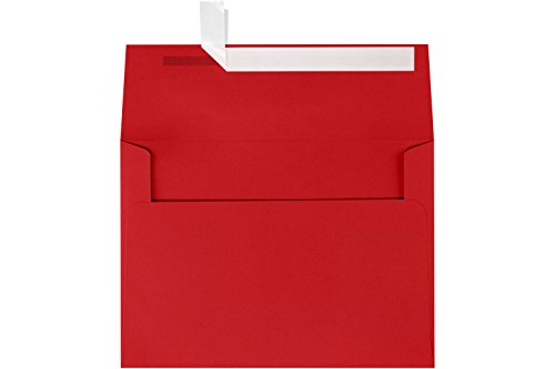 LUXPaper A7 Invitation Envelopes for 5 x 7 Cards in 80 lb. Ruby Red, Printable Envelopes for Invitations, w/Peel and Press Seal, 50 Pack, Envelope Size 5 1/4 x 7 1/4 (Red) -