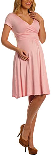 Women Maternity Jersey Flare Baby Shower Dress Short Sleeves,Powder_pink, XX-Large