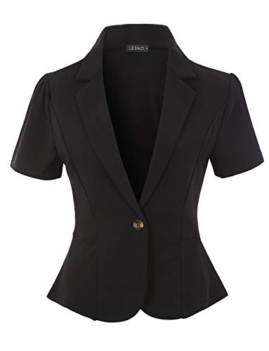 - LE3NO Womens Classic Solid Single Button Stretchy Short Sleeve Collared Blazer Jacket, Black, Small