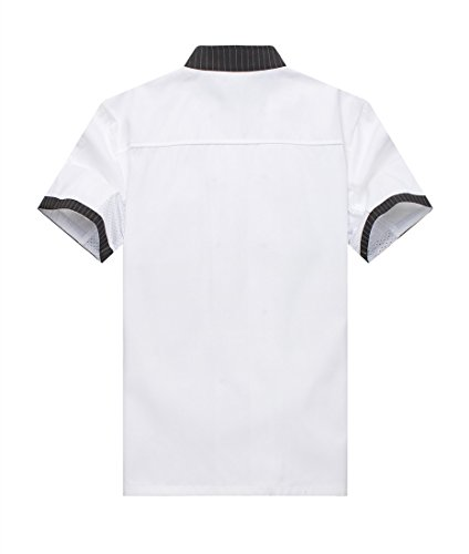 Chef Jackets Waiter Coat Short Sleeves Underarm Mesh Size L (Label:XXL) White by WAIWAIZUI (Image #2)
