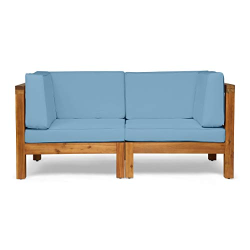 Great Deal Furniture Keith Outdoor Sectional Loveseat Set | 2-Seater | Acacia Wood | Water-Resistant Cushions | Teak and Blue