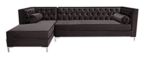 Decenni Tobias 8 Foot Tufted Left Arm Chaise Facing Tone Piping Sectional Sonoma Eggplant