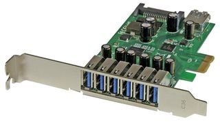 StarTech.com PEXUSB3S7 - Adaptador Tarjeta PCI Express, 7 Puertos USB 3.0, con alimentación SATA, Perfil bajo o Completo