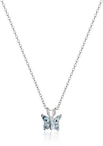 Blue Topaz Butterfly Ring - Sterling Silver Genuine Sky Blue Topaz Butterfly Pendant Necklace, 18