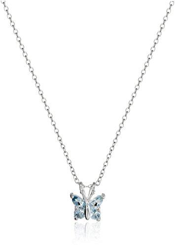 Blue Topaz Butterfly Pendant - Sterling Silver Genuine Sky Blue Topaz Butterfly Pendant Necklace, 18