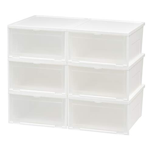 t Entry Stacking Shoe Box, Wide, White, 6 Pack ()