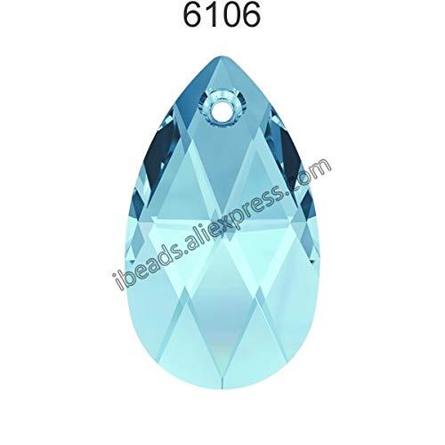 (Pukido (1 Piece) 100% Original Crystal from Swarovski 6106 Pear-Shaped Pendant from Austria Loose Beads Rhinestone DIY Jewelry Making - (Color: Aquamarine 202, Item Diameter: 38mm))