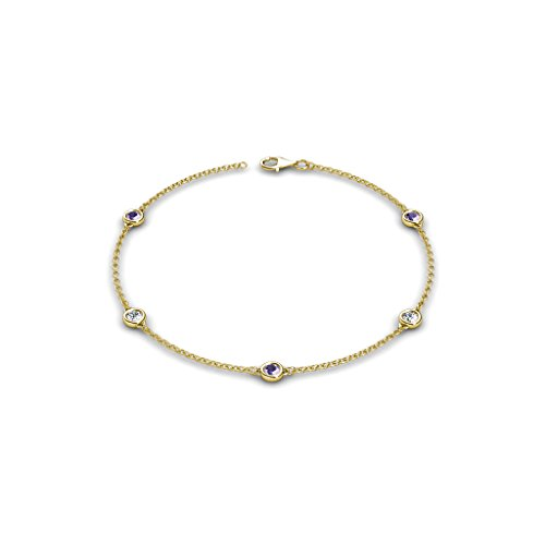 - TriJewels Petite Iolite and Diamond (SI2-I1, G-H) 5 Station Bracelet 0.44 cttw in 14K Yellow Gold