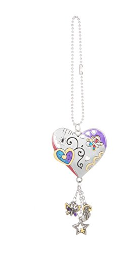 Heart Charm Car - Ganzz Color Art Heart Car Charm,Silver/ Blue/ Purple