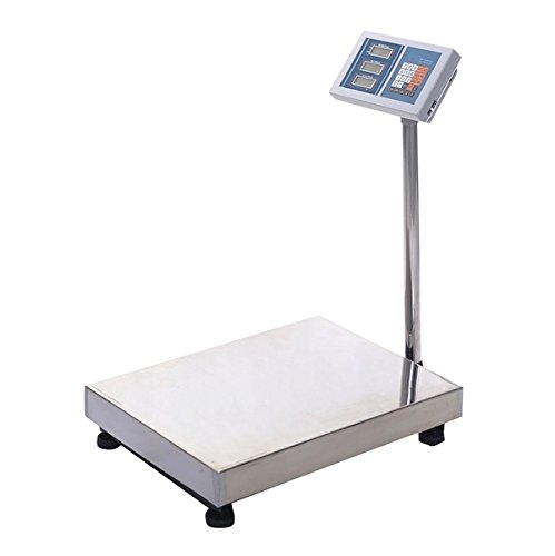 Price comparison product image 660LBS Digital Floor Platform Scale Weight Computing Reinforced Stainless Steel Indoor Outdoor Use Perfect For Food Industry Shipping Postal Office Mailing Pet Weighing 4 Adjustable Skidproof Feet