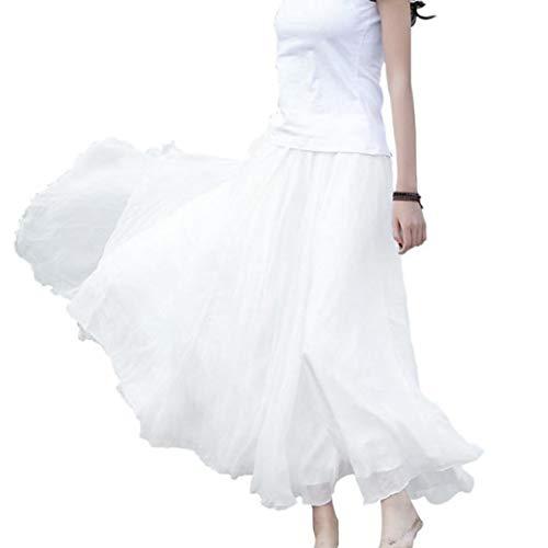 Women Elastic Waist Chiffon Elegant Classy Flowy Long Maxi Beach Skirt Dress White (Broomstick White Skirt)