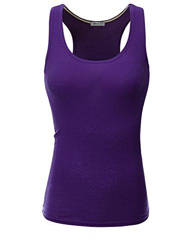 Doublju Women Topless Slim Fit Beaded Top Hudson DARKPURPLE Top,L