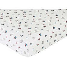 Sweet Jojo Designs Nautical Nights Fitted Crib Sheet Baby/Toddler Bedding Sets -Mini Print