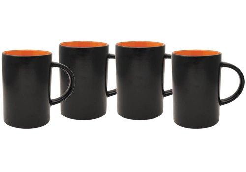 Culver 14-Ounce Midnight Cafe Ceramic Mug, Orange, Set of 4 (Coffee Mug Black Inside compare prices)