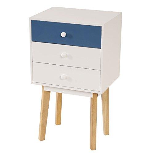 Kommode-Malm-T270-Beistelltisch-Schrank-Retro-Design-70x40x30cm-Schublade-blau