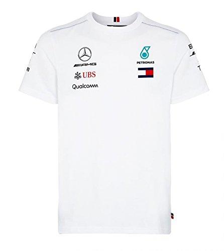 Mercedes Benz AMG Formula 1 Petronas White 2018 Men's Driver Team T-Shirt (2XL)