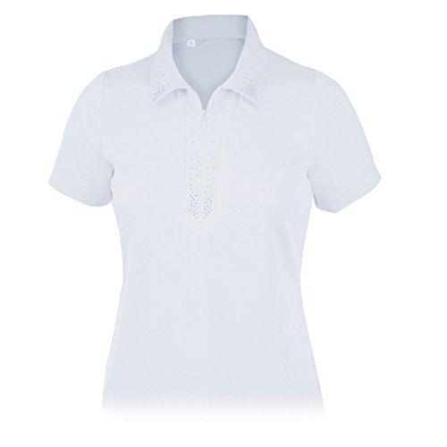 - Monterey Club Ladies Dry Swing Rhinestone Detail Solid Shirt #2438 (White, Small)
