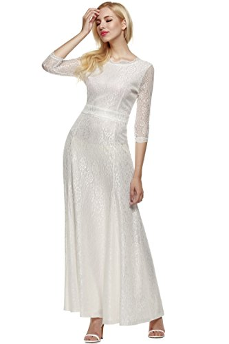 ANGVNS Women Lace 2/3 Sleeve Bridesmaid Homecoming Gown Dress, Size X-Small, White