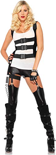 (Leg Avenue Women's SWAT Body Harness with Garter Iphone Holder and Walkie Talkie Cord Costume Accessory, Black,)