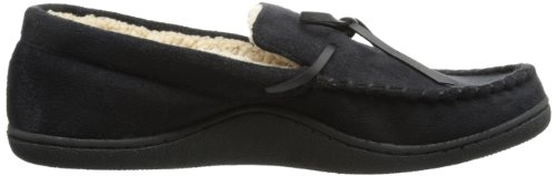 Isotoner Men's Microsuede Boater Moccasin Slipper with Sherpa Lining