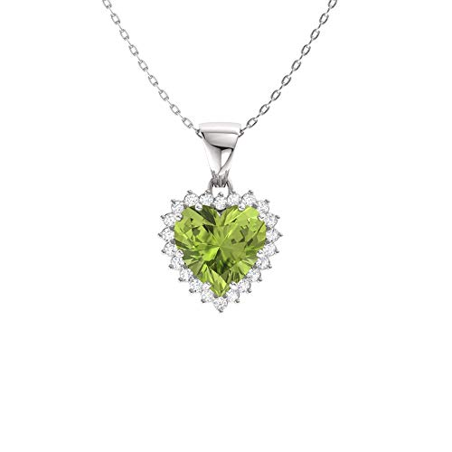 Diamondere Natural and Certified Heart Cut Peridot and Diamond Halo Necklace in 14k White Gold | 1.42 Carat Pendant with Chain
