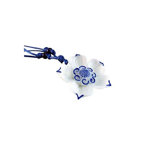 (Easting Chinese National Blue White Lotus Flower Ceramic Pendant)