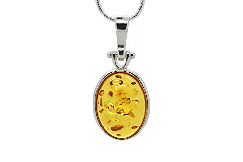 925 Sterling Silver Oval Pendant Necklace with Genuine Natural Baltic Honey Amber. Chain included