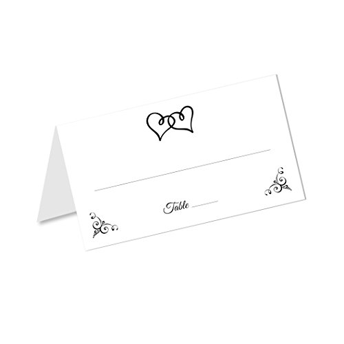 Double Heart Wedding Table Tented Place Cards (50 Count) - Fold Over Tent Style - Wedding Reception, Bridal Shower, Anniversary Party, Dinner Banquet Table Seating Cards (Flat Printed Invites)