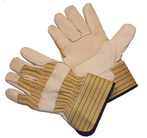 G & F 6431L-3 Premium Cowhide Leather Work Gloves, Drivers Gloves, with Double Patch Palm and Rubberized Safety Cuff, 3-Pair, Large