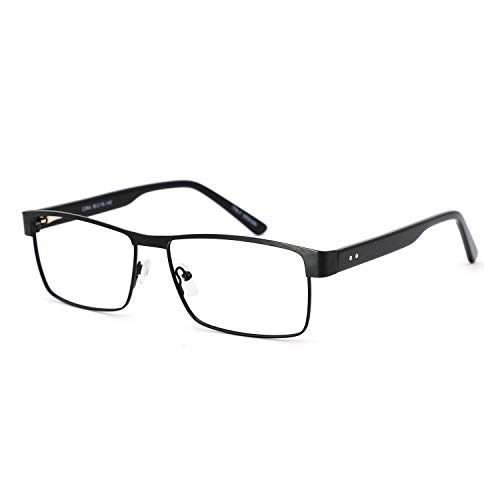 (OCCI CHIARI Thin TR90 Rectangular Reading Glasses for Men Wowen Magnification 1.5 2.0 2.5 3.0 (310-Black,54-16-140, 1.25))