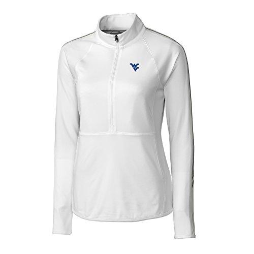 NCAA West Virginia Mountaineers Women's CB Drytec Long Sleeve Pennant Sport 3/4 Zip Apparel, Small, White