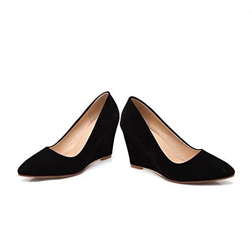Allhqfashion Womens Puntige Gesloten Neus Hoge Hakken Frosted Stevige Pull-on Pumps-schoenen Zwart