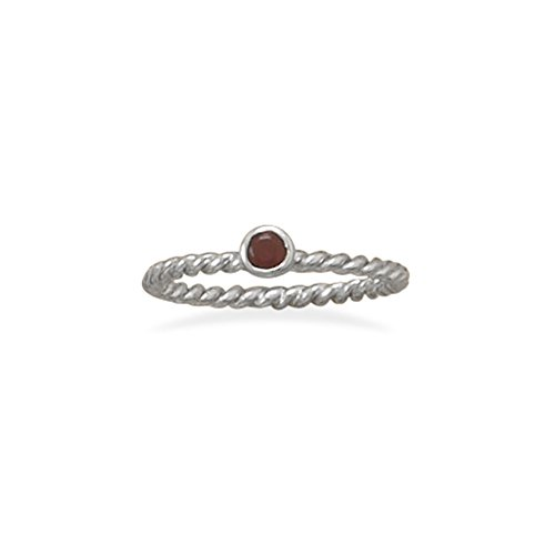 Stackable January Ring Rhodium