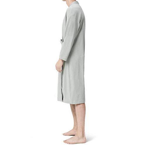 Casa Ropa Grey Manga Capa Pijamas De Bathing Camisones Moda Lace Suelta La Albornoz Up Hombres Ntel Larga 2018 Algodón Los New Summer Momme Oxpwg