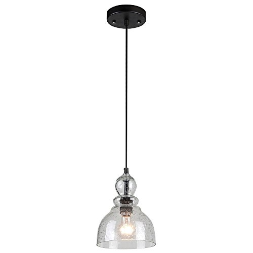 (Westinghouse Lighting 6100800 Adjustable Indoor Mini-Pendant Light, Oil Rubbed Bronze Finish with Handblown Clear Seeded Glass)