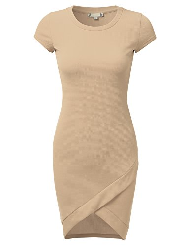 Cute Brown Dress (DRESSIS Women's Round Neck Cap Sleeve Bodycon Tulip Hem Sheath Midi Dress TAUPE S)