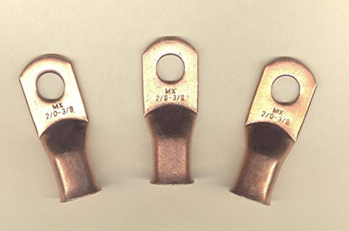 5 Big Copper Lug Terminal Connector Ring Battery #2/0 Wire Gauge 3/8