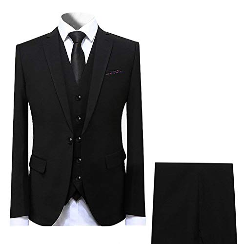 Cloudstyle Mens Suit Solid Color Formal Business One Button 3-Piece Suit Wedding Slim Fit Black