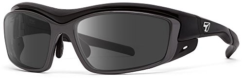 7eye Rocker Interchangeable SharpView Sunglasses, Black Glossy Frame, Gray/Clear Lens, Small/Medium