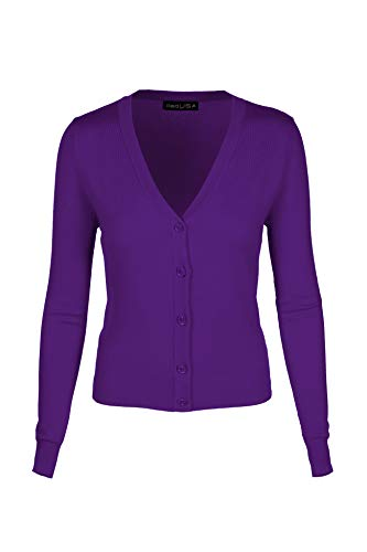7031 Women V-Neck Long Sleeve Button Down Classic Knit Cardigan Eggplant X-Large ()