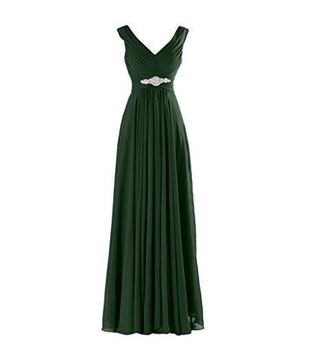 La V Dunkel Partykleider Gruen Brautjungfernkleider Abendkleider Elegant Braut Chiffon Ausschnitt Marie Abschlussballkleider qCxpUnwqfZ