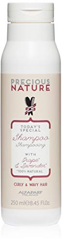 Alfaparf Milano Precious Nature Curly & Wavy Hair Shampoo - Sulfate Free -Enriched with Lavender and Grape Serum - Color Safe - Wave Control - Anti-Frizz - Professional Salon Quality - 8.45 fl. oz.
