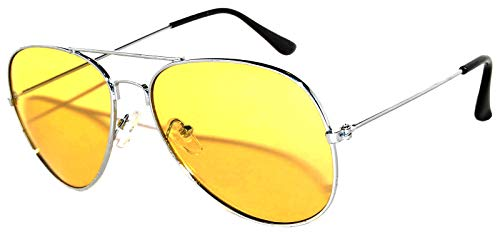 Aviator Style Sunglasses Yellow Gradient Lens Metal Silver Frame UV 400